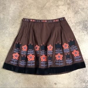 Anthropologie Lithe Velvet Trim Floral Skirt